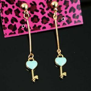 Betsey Johnson's Gold Key & Heart Drop Earrings